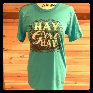 Crazy Train Hay Girl Hay tee turquoise